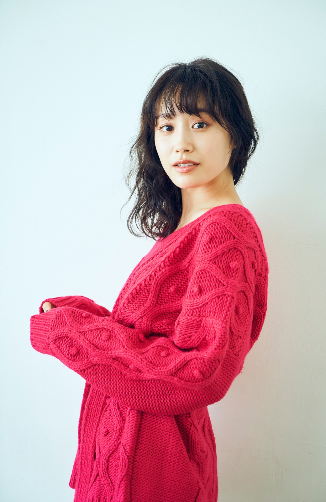 haco! <高橋愛さんコラボ>ラブ&ピースプロジェクト パプコーン編みのウエストマークケーブルニットトップス <ピンク>の商品写真10