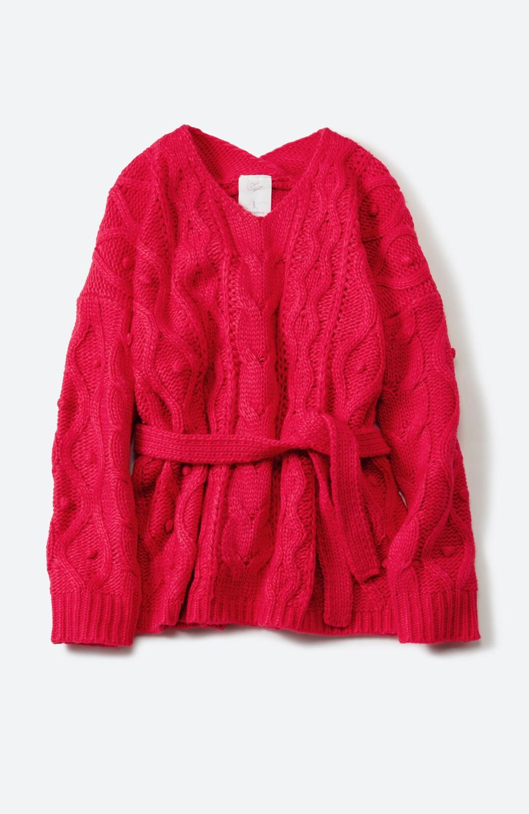 haco! <高橋愛さんコラボ>ラブ&ピースプロジェクト パプコーン編みのウエストマークケーブルニットトップス <ピンク>の商品写真2