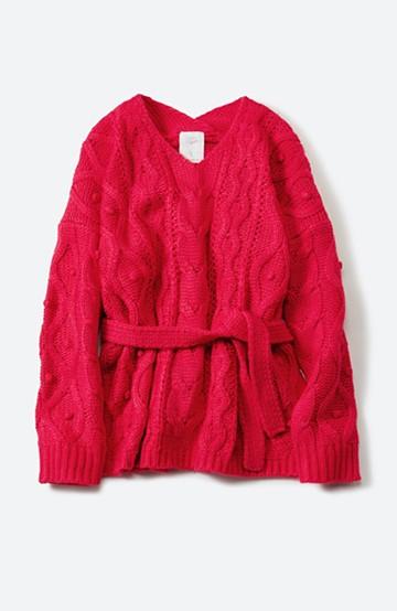 haco! <高橋愛さんコラボ>ラブ&ピースプロジェクト パプコーン編みのウエストマークケーブルニットトップス <ピンク>の商品写真