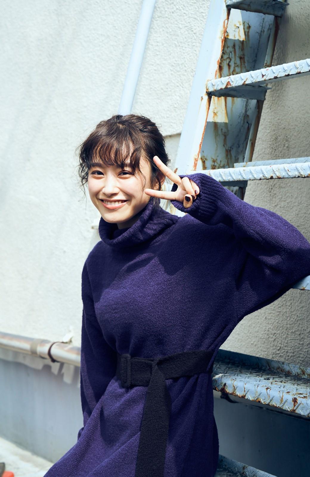 haco! <高橋愛さんコラボ>ラブ&ピースプロジェクト 配色ベルトのタートルニットロングワンピース <パープル>の商品写真11