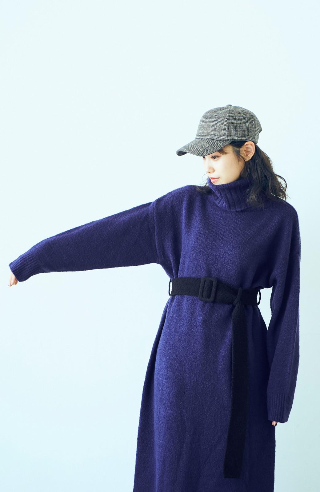haco! <高橋愛さんコラボ>ラブ&ピースプロジェクト 配色ベルトのタートルニットロングワンピース <パープル>の商品写真6