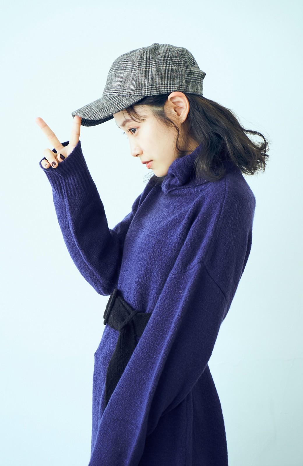 haco! <高橋愛さんコラボ>ラブ&ピースプロジェクト 配色ベルトのタートルニットロングワンピース <パープル>の商品写真7