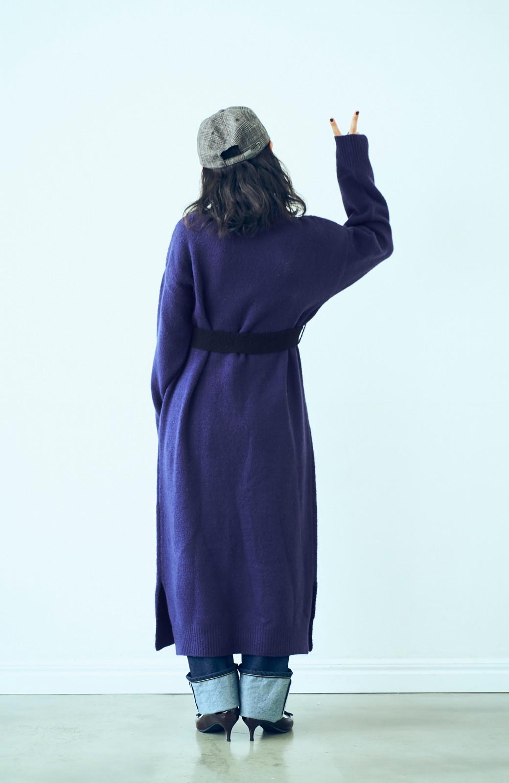 haco! <高橋愛さんコラボ>ラブ&ピースプロジェクト 配色ベルトのタートルニットロングワンピース <パープル>の商品写真8