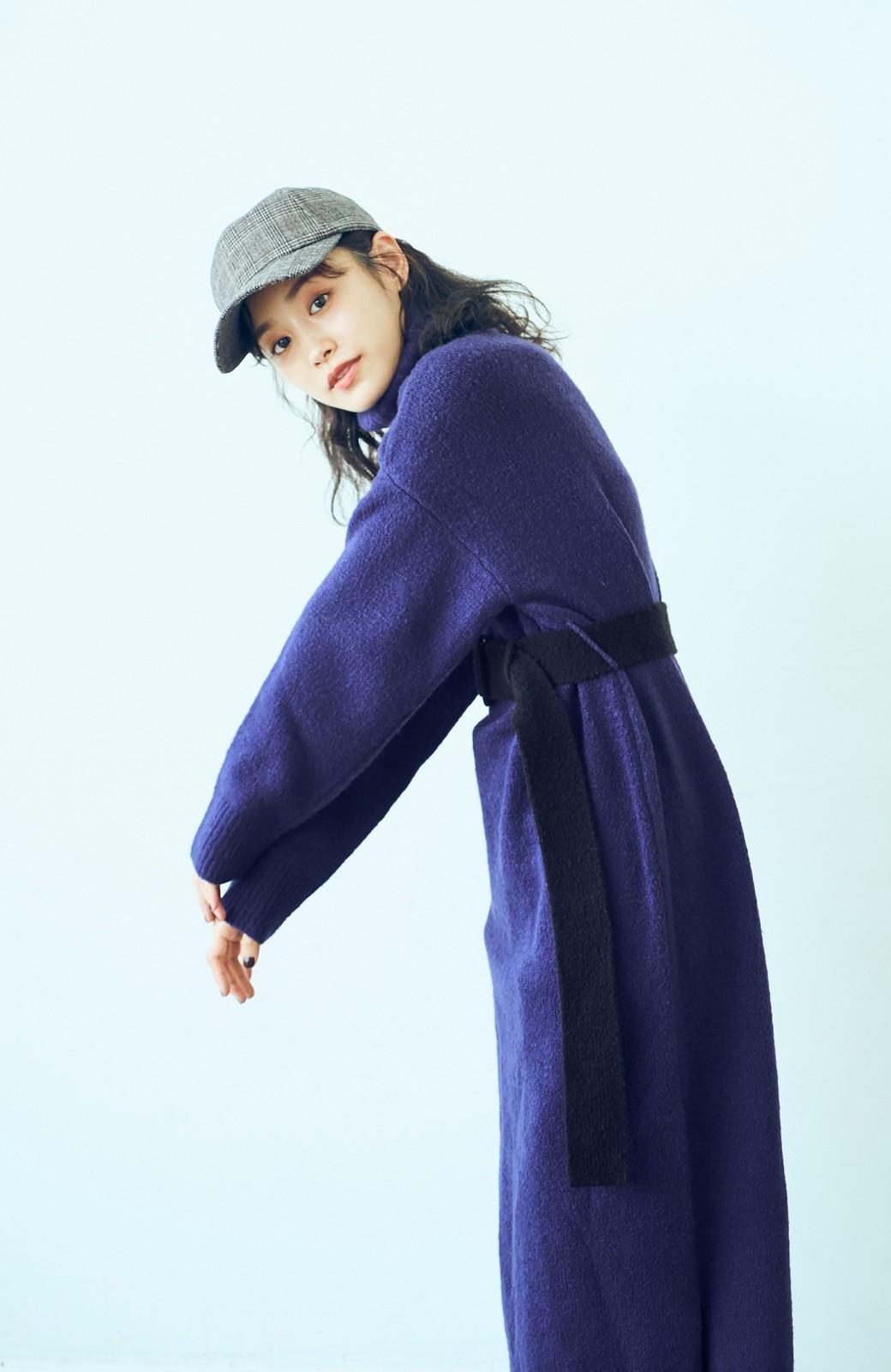 haco! <高橋愛さんコラボ>ラブ&ピースプロジェクト 配色ベルトのタートルニットロングワンピース <パープル>の商品写真9