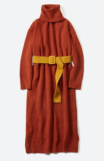 haco! <高橋愛さんコラボ>ラブ&ピースプロジェクト 配色ベルトのタートルニットロングワンピース <レンガ>の商品写真