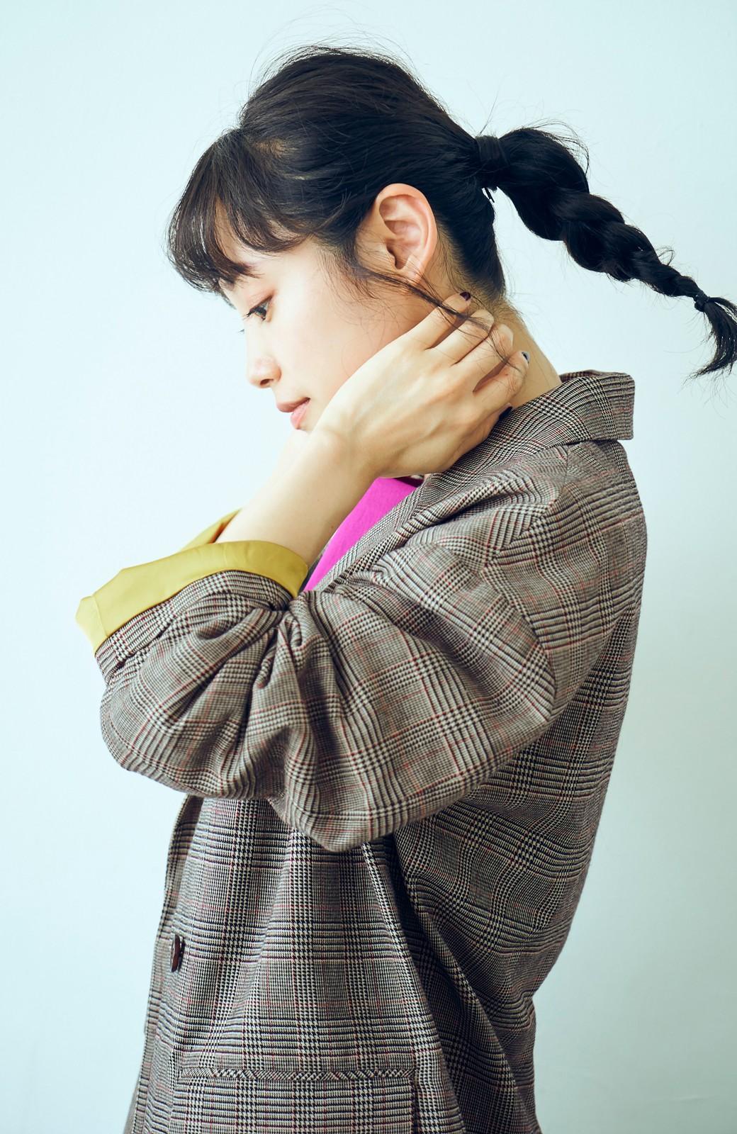 haco! <高橋愛さんコラボ>ラブ&ピースプロジェクト 裏地配色がかわいいチェック柄のダブルボタンジャケット <ブラウン系その他>の商品写真6