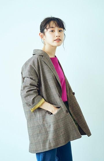haco! <高橋愛さんコラボ>ラブ&ピースプロジェクト 裏地配色がかわいいチェック柄のダブルボタンジャケット <ブラウン系その他>の商品写真