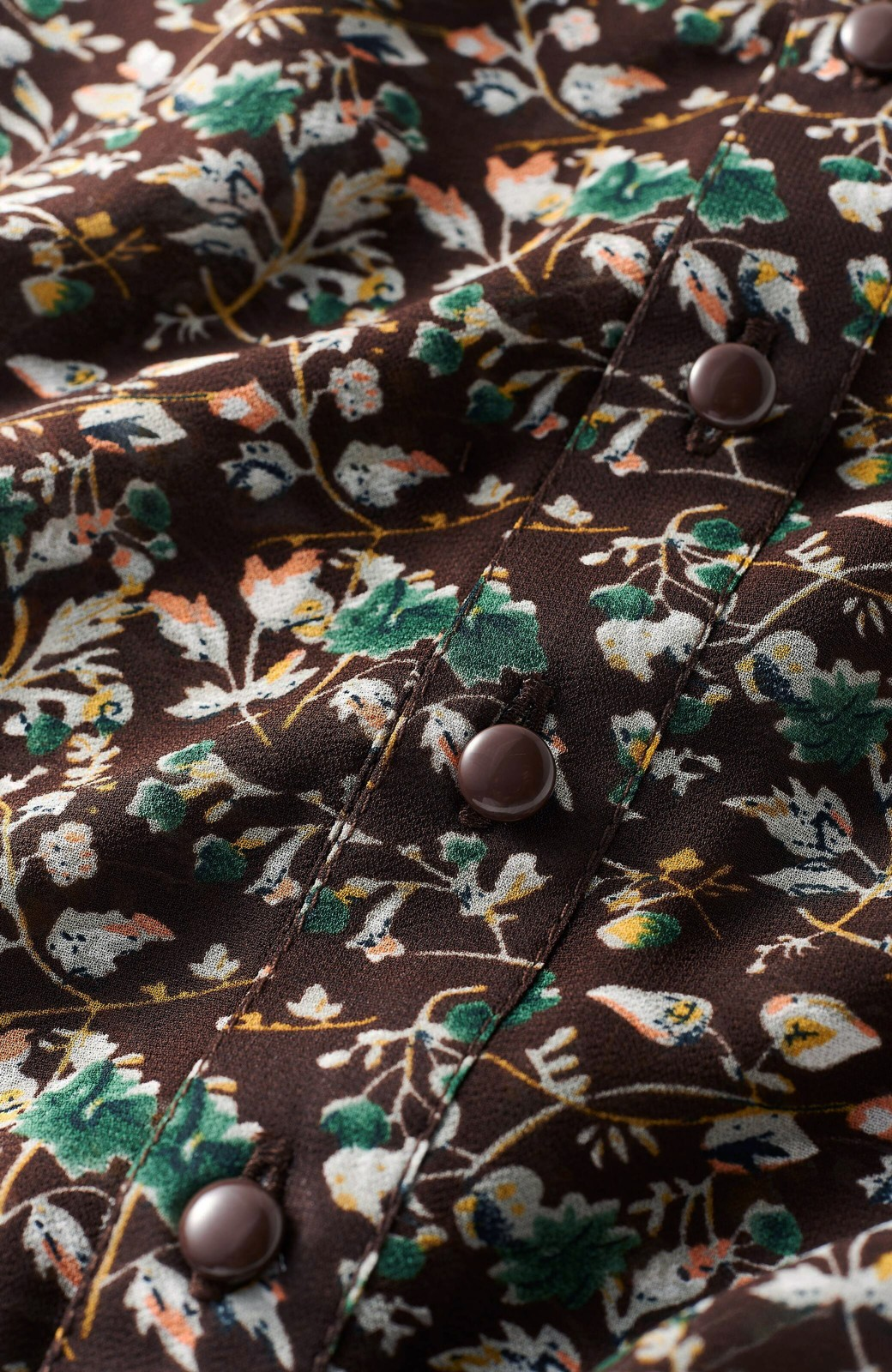 haco! <高橋愛さんコラボ>ラブ&ピースプロジェクト 花柄ハイネックマキシワンピース <ブラウン系その他>の商品写真3