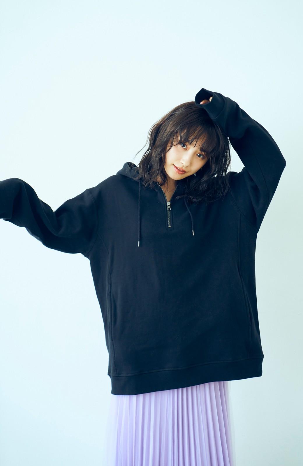 haco! <高橋愛さんコラボ>ラブ&ピースプロジェクト フロントジップの裏毛起毛パーカー(メンズ) <ブラック>の商品写真7