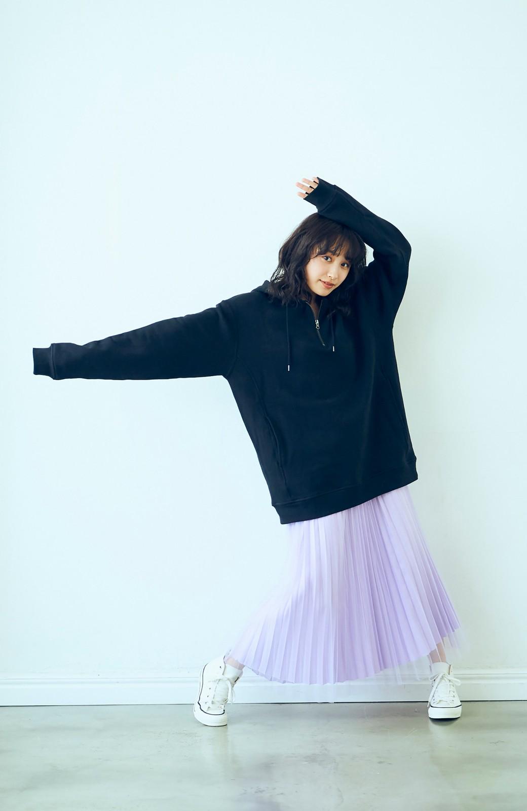 haco! <高橋愛さんコラボ>ラブ&ピースプロジェクト フロントジップの裏毛起毛パーカー(メンズ) <ブラック>の商品写真12