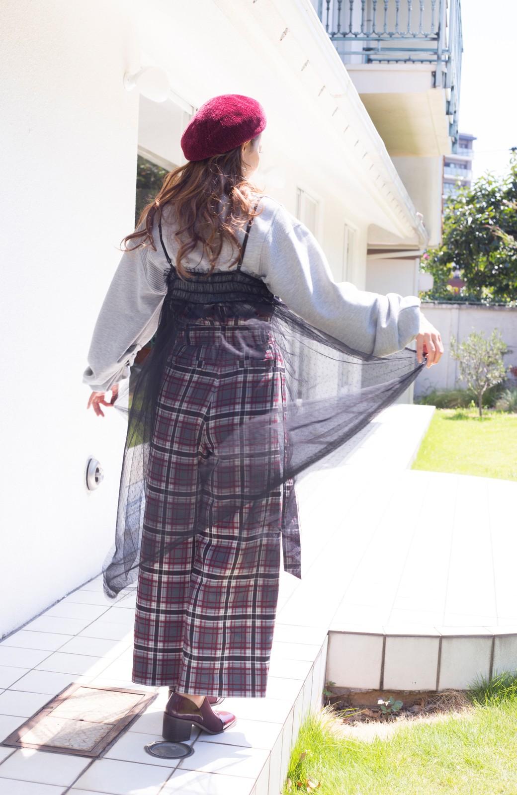 haco! <スザンヌさんコラボ>ラブ&ピースプロジェクト ドットチュールキャミワンピース&ボリュームスウェットトップスセット <杢グレー>の商品写真20