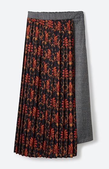 haco! <スザンヌさんコラボ>ラブ&ピースプロジェクト グレンチェック&ダークフラワー柄のアシンメトリースカート <グレー系その他>の商品写真