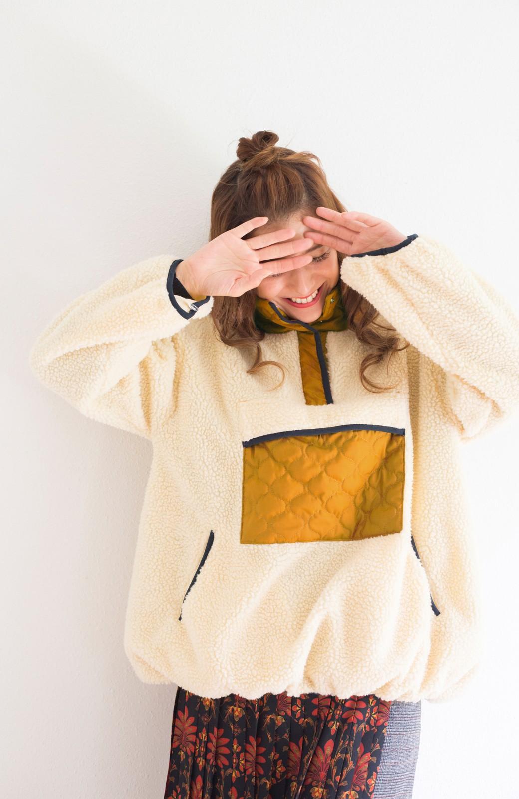 haco! <スザンヌさんコラボ>ラブ&ピースプロジェクト キルティングポイントのボアプルオーバー <アイボリー>の商品写真10