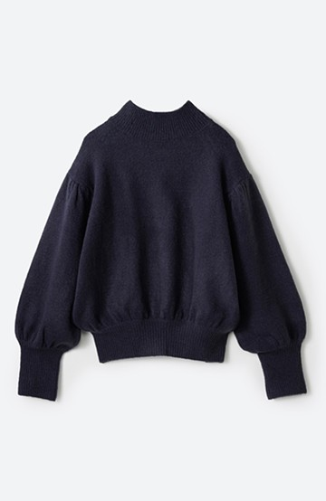 haco! 肌見せせずとも華奢見えできる ぷっくり袖のショートニット<ネイビー>の商品写真