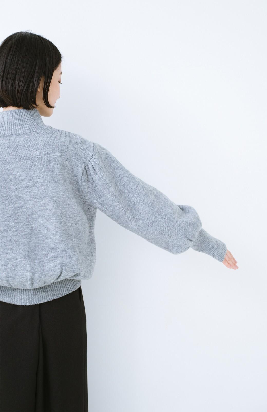 haco! 肌見せせずとも華奢見えできる ぷっくり袖のショートニット <杢グレー>の商品写真14