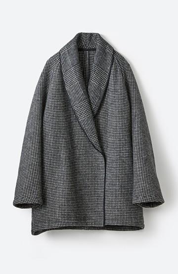 haco! たくさん着込んで長ーーく着られる ゆったりシルエットの千鳥柄コート <ブラック系その他>の商品写真