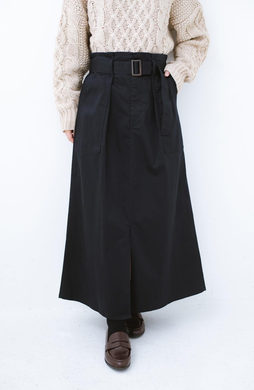 haco! ちょうどいい女っぽ感 下半身をすらっと見せるスリットロングスカート <ネイビー>の商品写真1