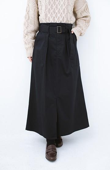haco! ちょうどいい女っぽ感 下半身をすらっと見せるスリットロングスカート <ネイビー>の商品写真