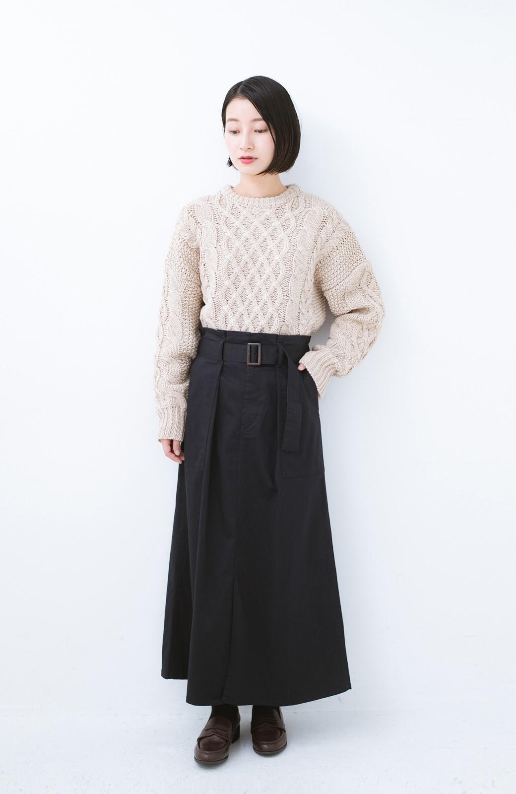 haco! ちょうどいい女っぽ感 下半身をすらっと見せるスリットロングスカート <ネイビー>の商品写真8