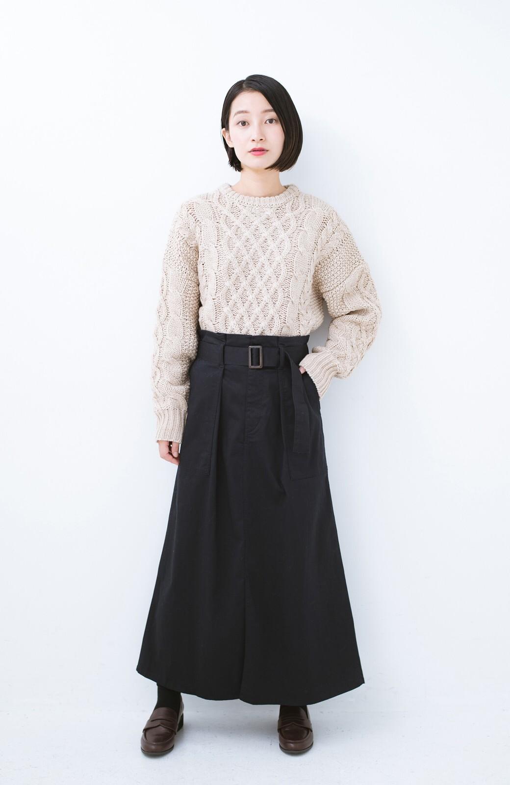 haco! ちょうどいい女っぽ感 下半身をすらっと見せるスリットロングスカート <ネイビー>の商品写真9