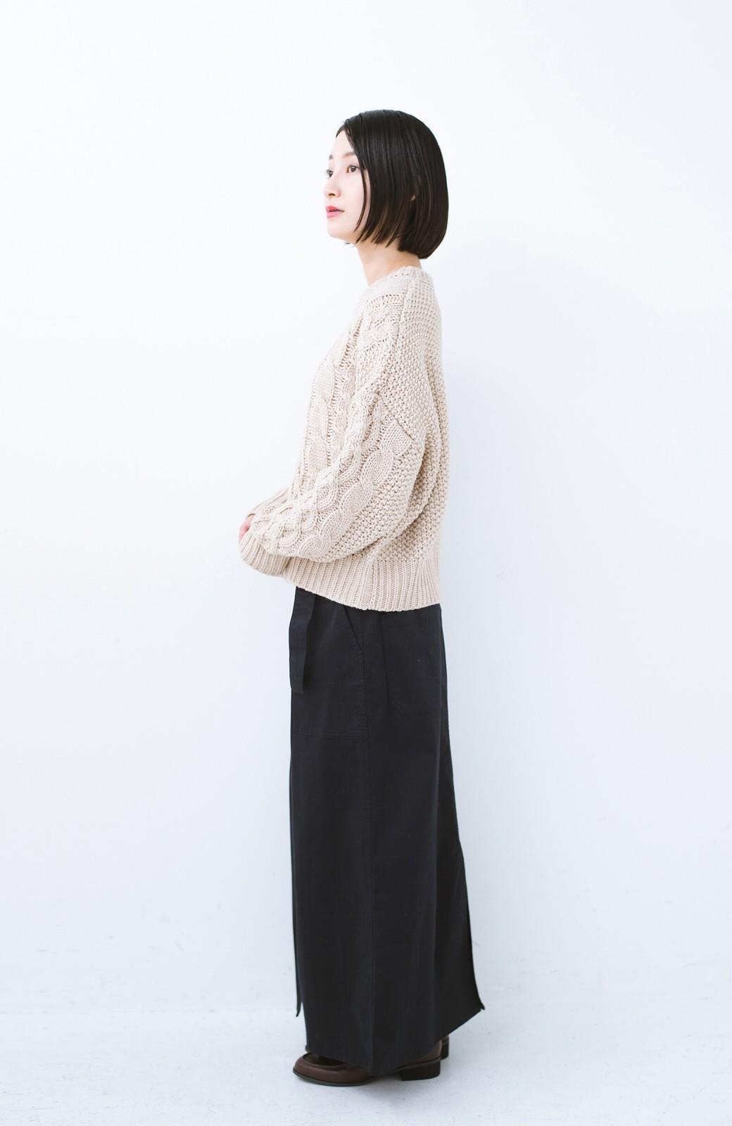 haco! ちょうどいい女っぽ感 下半身をすらっと見せるスリットロングスカート <ネイビー>の商品写真11