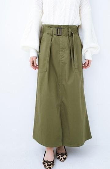 haco! ちょうどいい女っぽ感 下半身をすらっと見せるスリットロングスカート <カーキ>の商品写真
