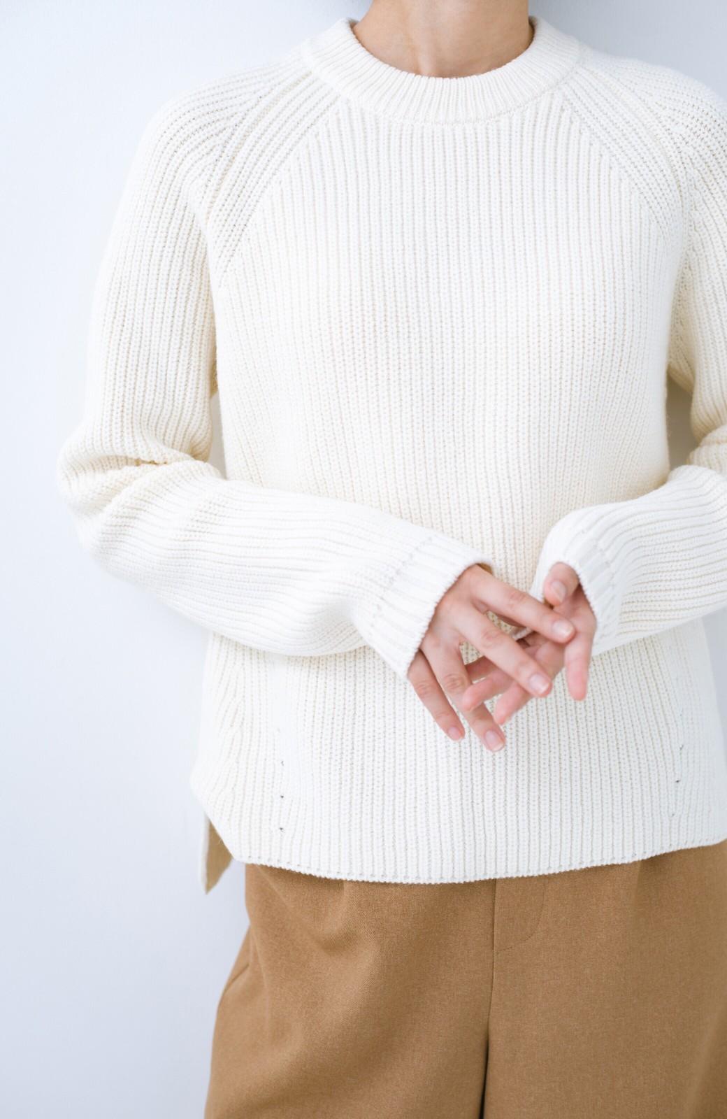 haco! パッと着るだけでバランスよく見える コンパクトシルエットの畦編みニット by que made me <ホワイト>の商品写真4