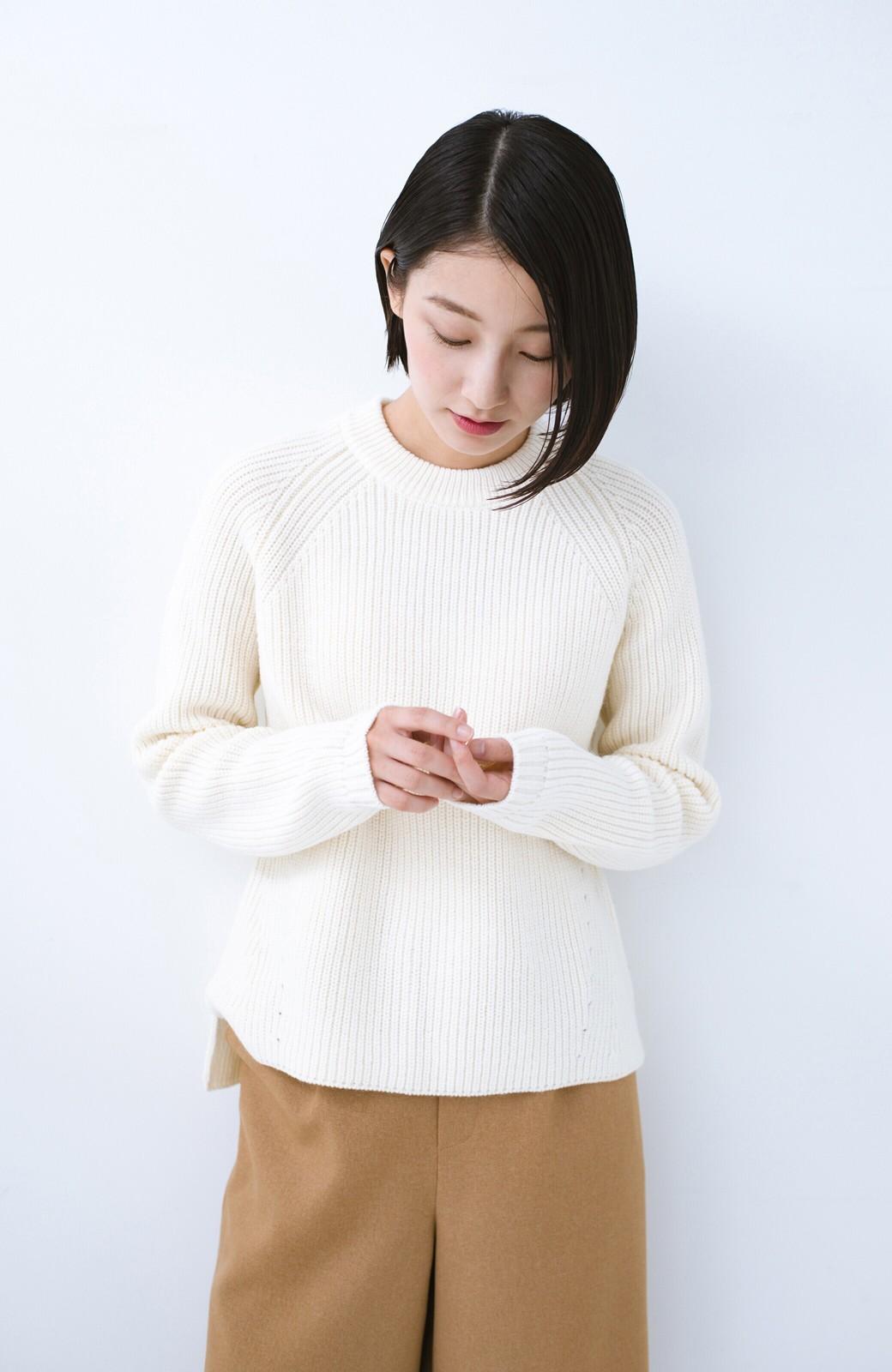 haco! パッと着るだけでバランスよく見える コンパクトシルエットの畦編みニット by que made me <ホワイト>の商品写真10
