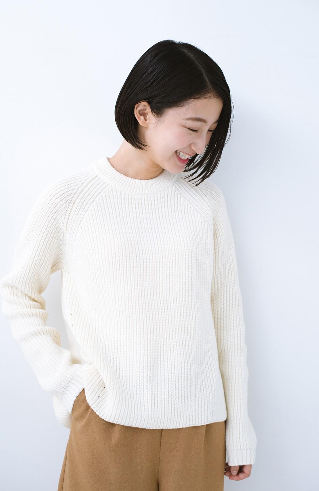 haco! パッと着るだけでバランスよく見える コンパクトシルエットの畦編みニット by que made me <ホワイト>の商品写真5