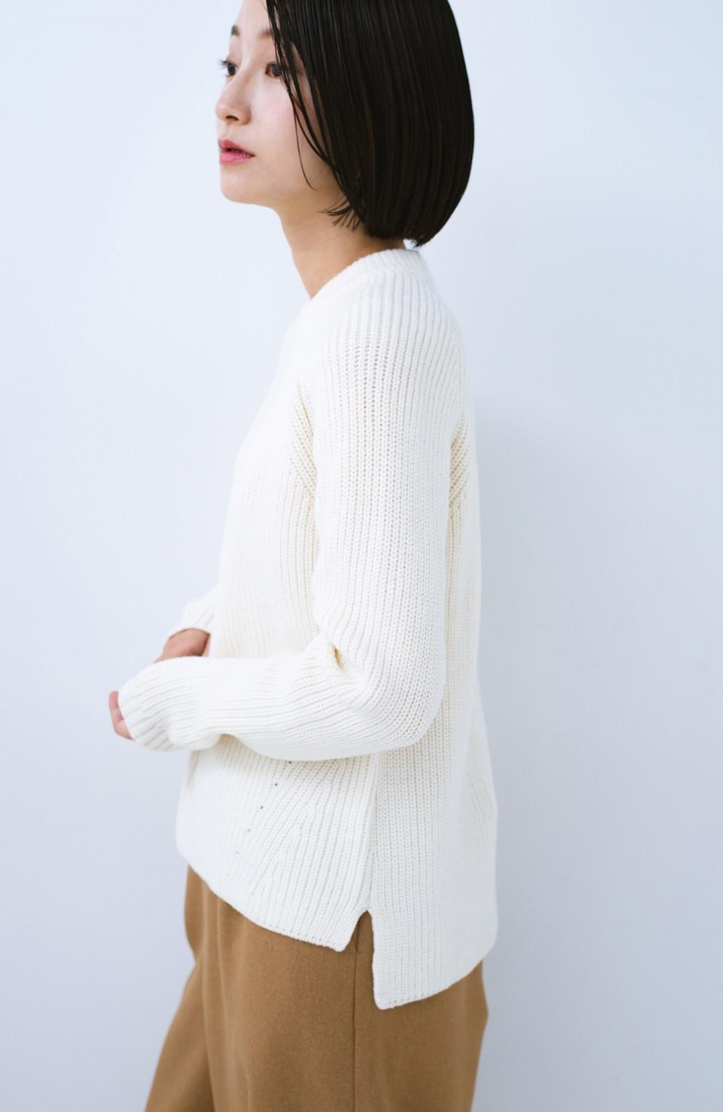 haco! パッと着るだけでバランスよく見える コンパクトシルエットの畦編みニット by que made me <ホワイト>の商品写真8