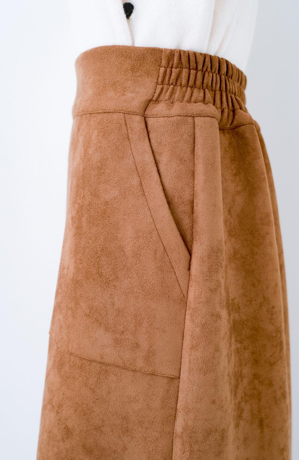 haco! 大人の女っぽ見えを実現させる フェイクスエードスリットスカート <ブラウン>の商品写真5