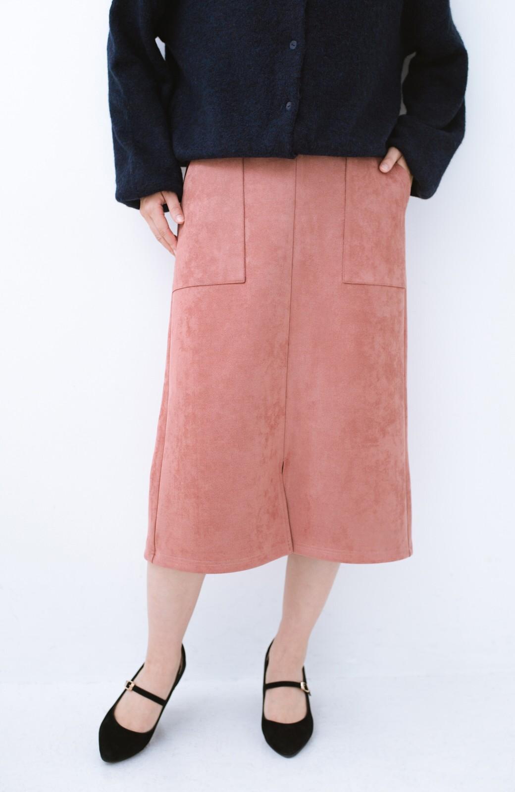 haco! 大人の女っぽ見えを実現させる フェイクスエードスリットスカート <ピンク>の商品写真3