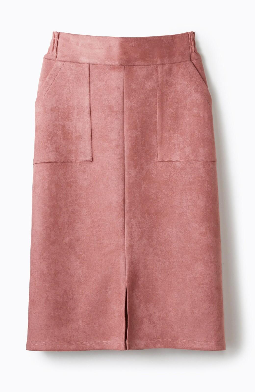 haco! 大人の女っぽ見えを実現させる フェイクスエードスリットスカート <ピンク>の商品写真2