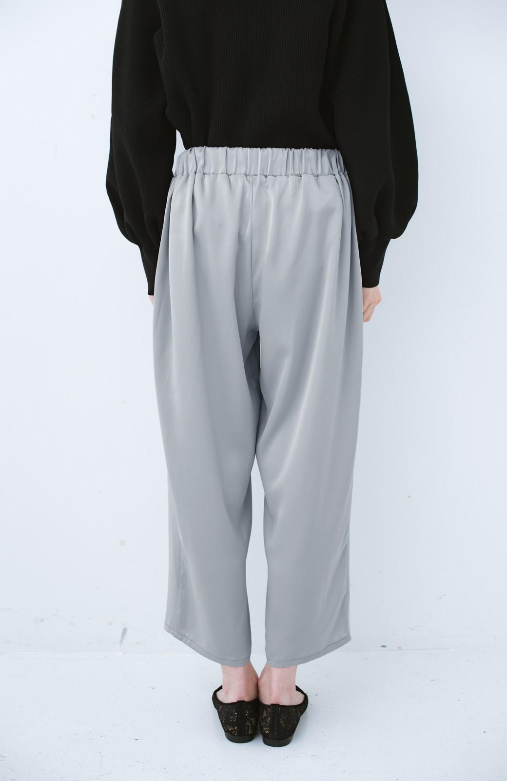 haco! パンツ派さんのデート着 プリーツスカート風にもなる華やかパンツセット <ライトブルーグレー>の商品写真10