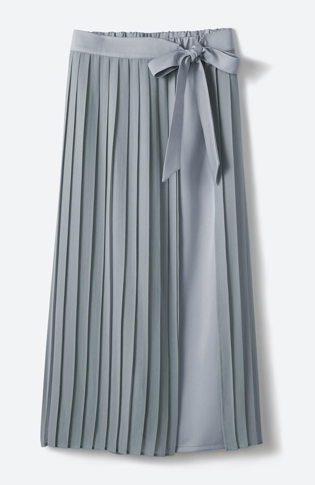 haco! パンツ派さんのデート着 プリーツスカート風にもなる華やかパンツセット <ライトブルーグレー>の商品写真1
