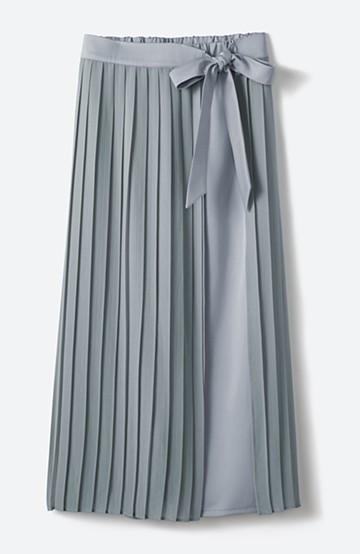 haco! パンツ派さんのデート着 プリーツスカート風にもなる華やかパンツセット <ライトブルーグレー>の商品写真