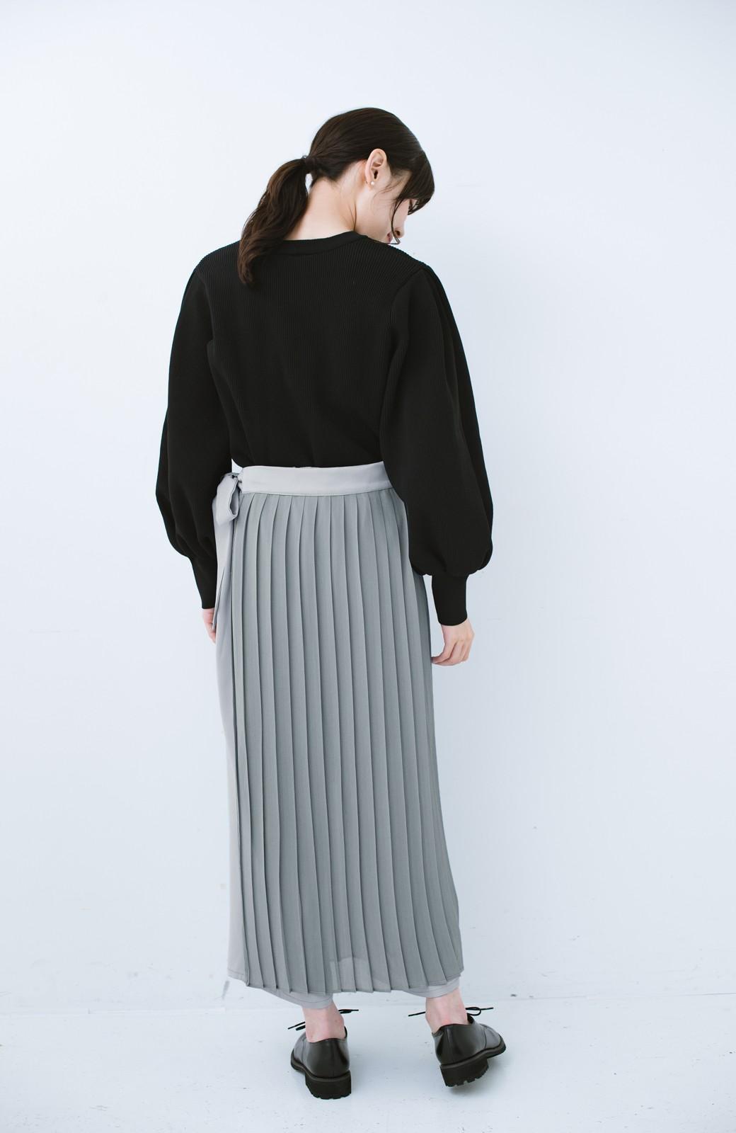 haco! パンツ派さんのデート着 プリーツスカート風にもなる華やかパンツセット <ライトブルーグレー>の商品写真17