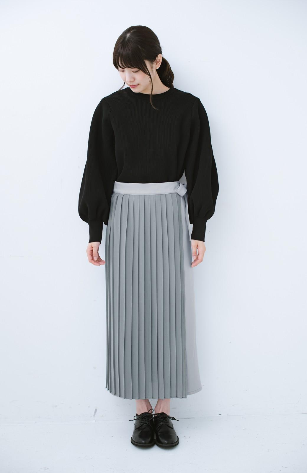 haco! パンツ派さんのデート着 プリーツスカート風にもなる華やかパンツセット <ライトブルーグレー>の商品写真14