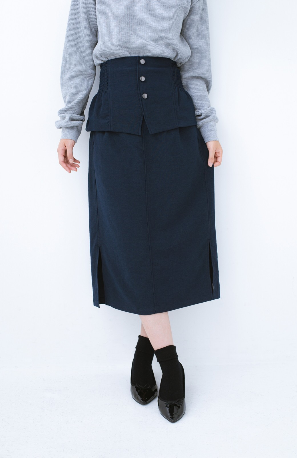 haco!  腹巻きとは呼ばせない ブルー期も華やかに過ごせる消臭加工裏地付きフリルデザインスカートセット【ブルー期】女の子バンザイ!プロジェクト <ネイビー>の商品写真9