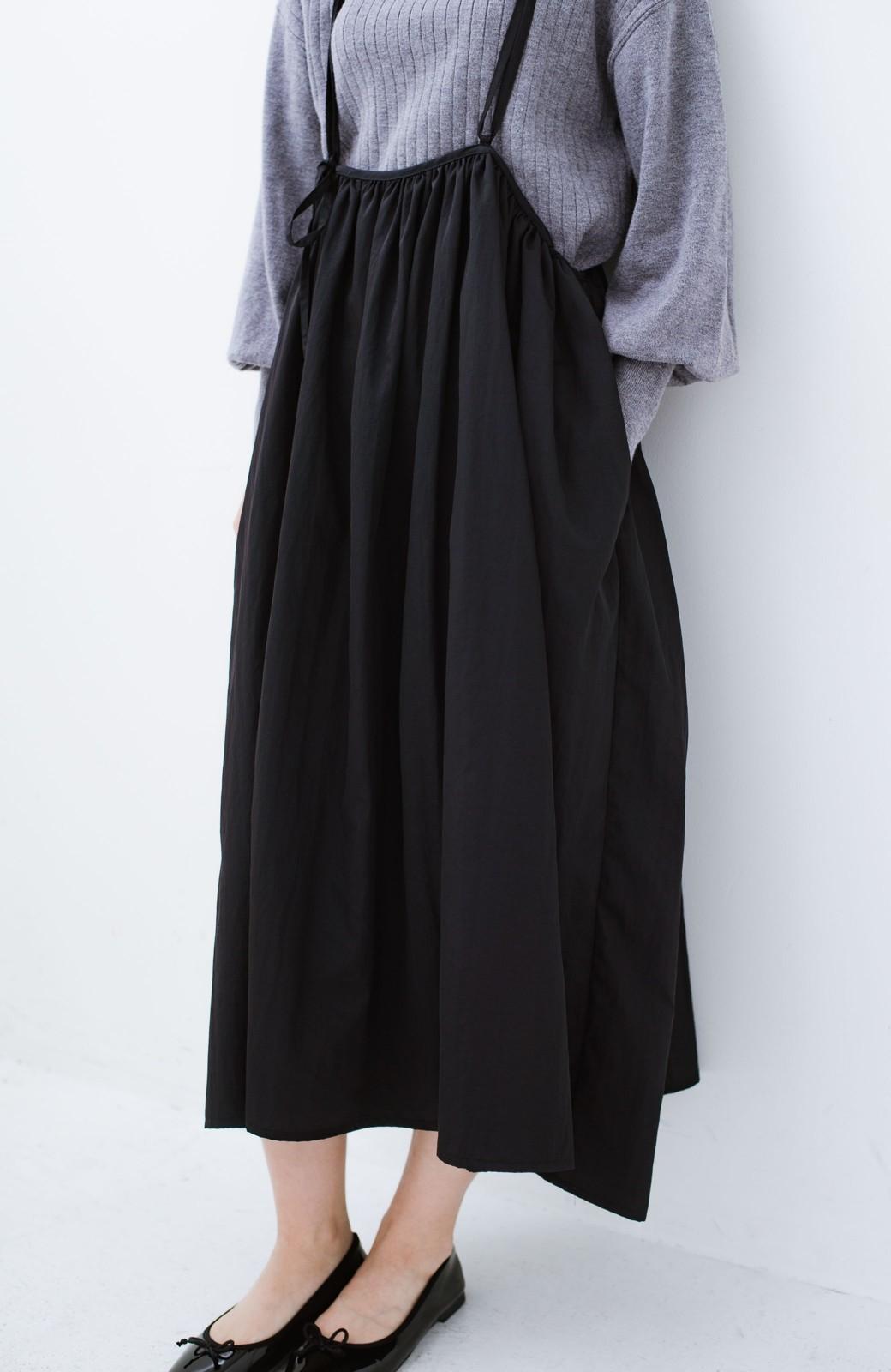 haco! 女の子バンザイ!プロジェクト【ブルー期】 ニットですら重ね着できる安心さ ゆったりギャザーキャミワンピ <ブラック>の商品写真3