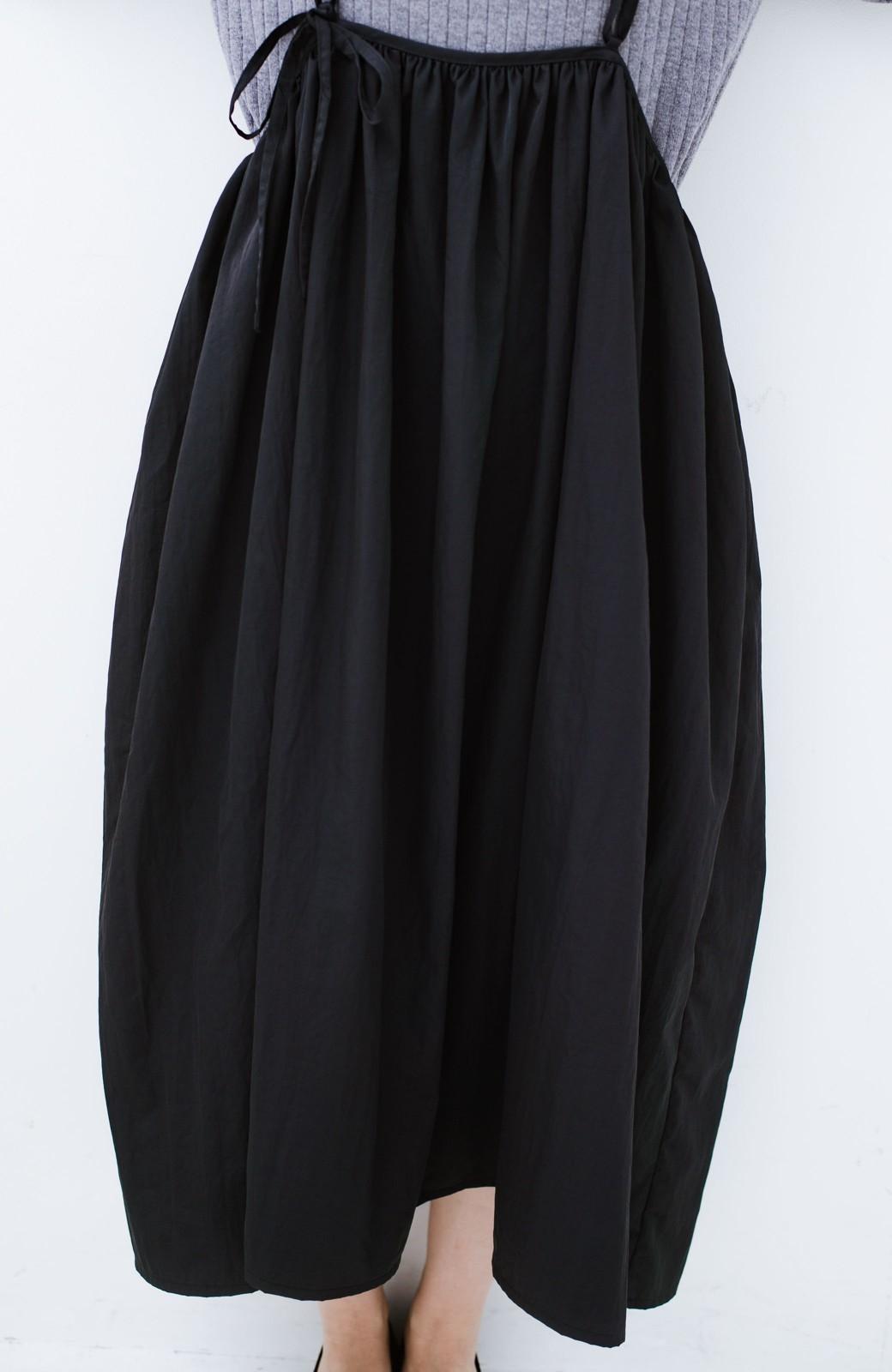 haco! 女の子バンザイ!プロジェクト【ブルー期】 ニットですら重ね着できる安心さ ゆったりギャザーキャミワンピ <ブラック>の商品写真12