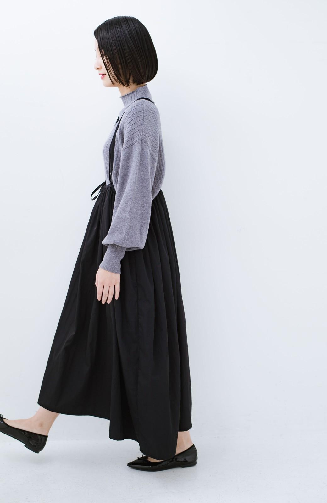 haco! 女の子バンザイ!プロジェクト【ブルー期】 ニットですら重ね着できる安心さ ゆったりギャザーキャミワンピ <ブラック>の商品写真18