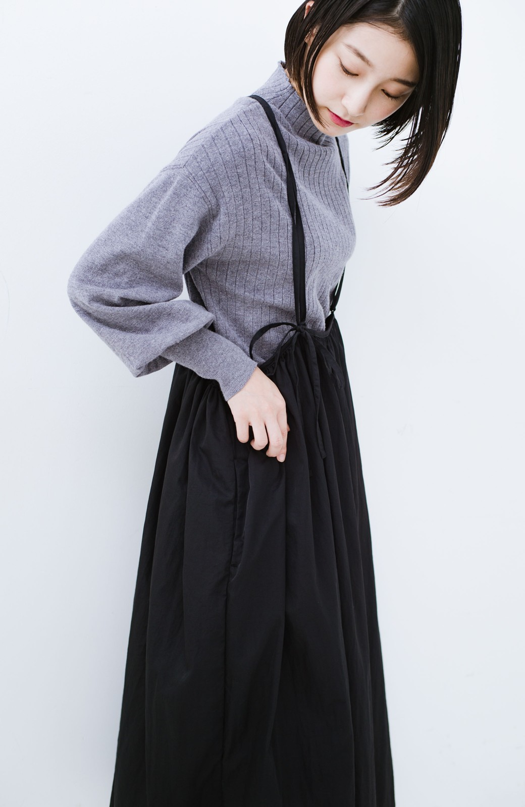 haco! 女の子バンザイ!プロジェクト【ブルー期】 ニットですら重ね着できる安心さ ゆったりギャザーキャミワンピ <ブラック>の商品写真19