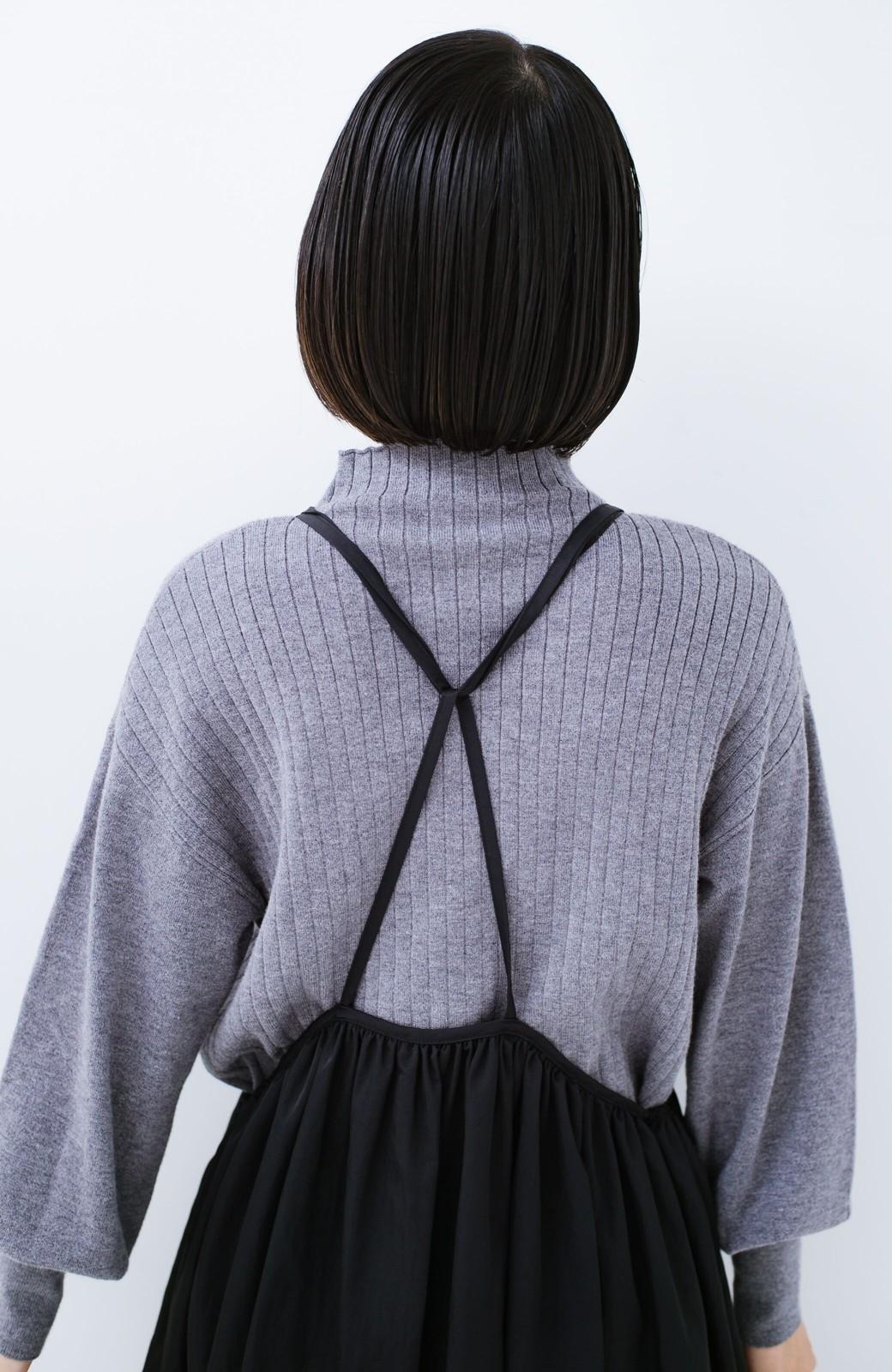 haco! 女の子バンザイ!プロジェクト【ブルー期】 ニットですら重ね着できる安心さ ゆったりギャザーキャミワンピ <ブラック>の商品写真20