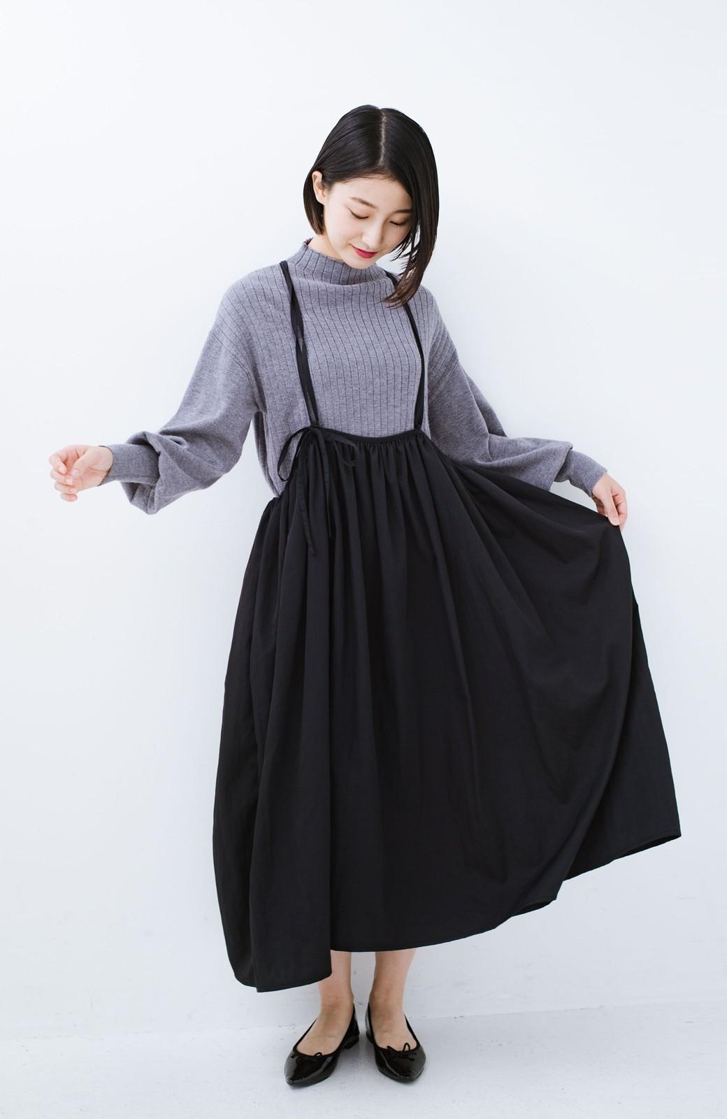 haco! 女の子バンザイ!プロジェクト【ブルー期】 ニットですら重ね着できる安心さ ゆったりギャザーキャミワンピ <ブラック>の商品写真5