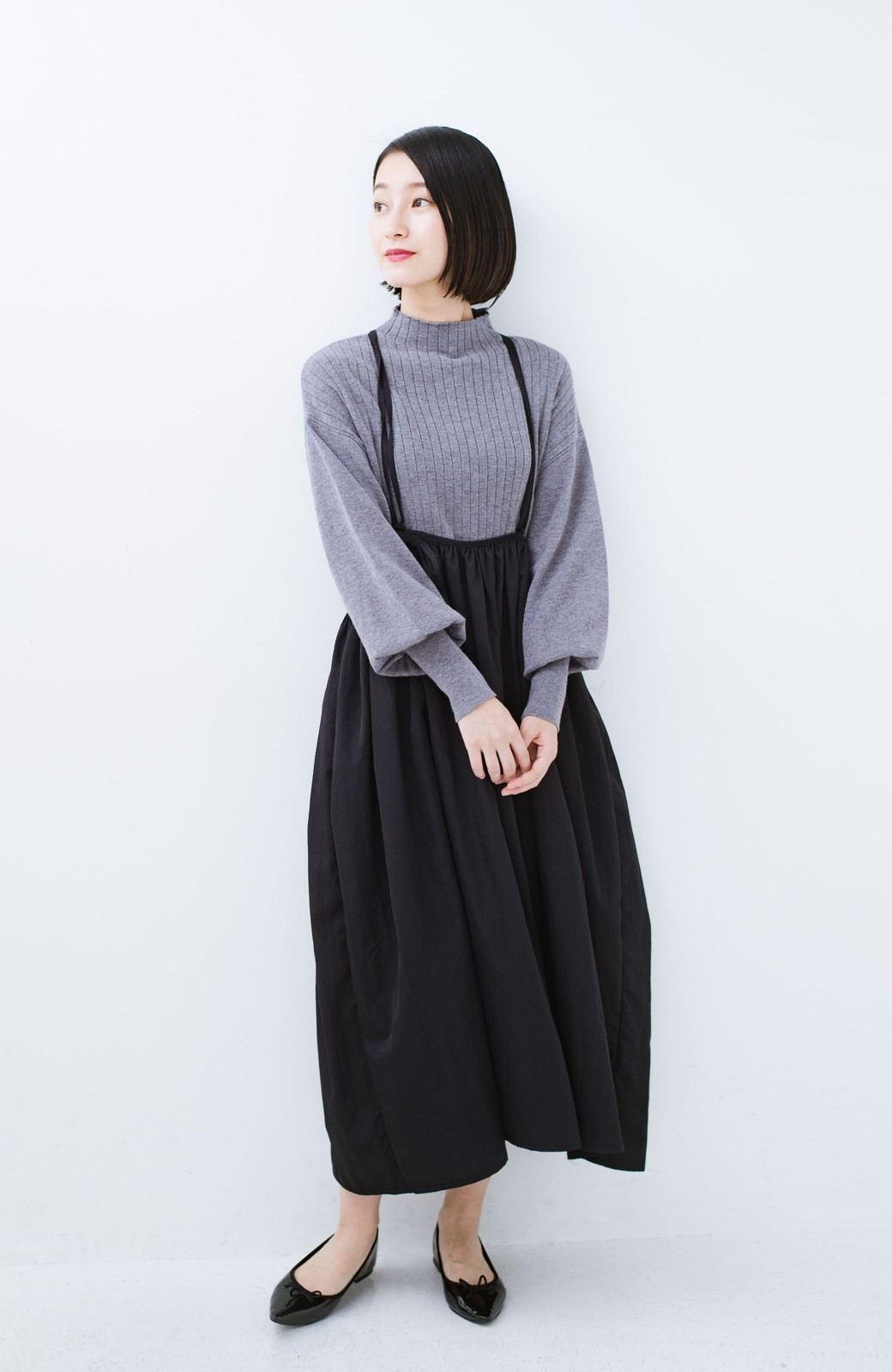 haco! 女の子バンザイ!プロジェクト【ブルー期】 ニットですら重ね着できる安心さ ゆったりギャザーキャミワンピ <ブラック>の商品写真8
