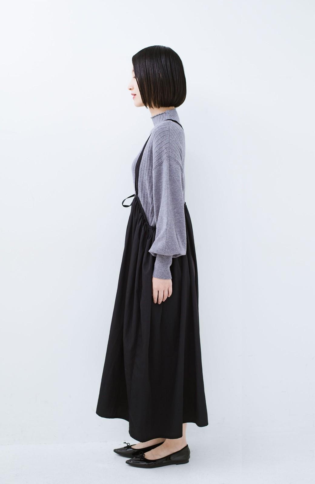 haco! 女の子バンザイ!プロジェクト【ブルー期】 ニットですら重ね着できる安心さ ゆったりギャザーキャミワンピ <ブラック>の商品写真16