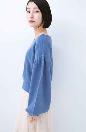 haco! 女の子バンザイ!プロジェクト【キラキラ期】 たまには女っぽ意識のやわらかニットトップス <ブルー>の商品写真