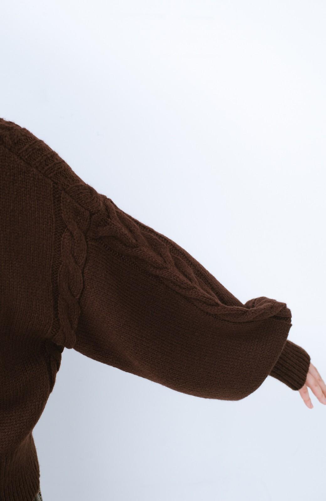haco!  むくみを気にせず女っぽく仕上げてくれる軽量ケーブルニットトップス【まったり期~もやもや期】女の子バンザイ!プロジェクト <ブラウン>の商品写真8