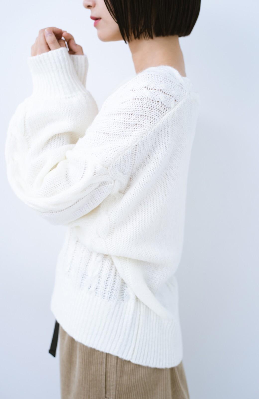 haco!  むくみを気にせず女っぽく仕上げてくれる軽量ケーブルニットトップス【まったり期~もやもや期】女の子バンザイ!プロジェクト <オフホワイト>の商品写真6